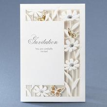 50pcs/pack New Design White Luxury Flora Butterfly Wedding Invitations Sample Elegant Birthday Party Decorations Card Invitation