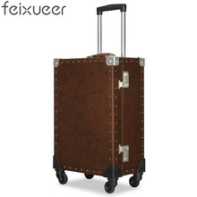 feixueer Designer 20 Inch Genuine Split Leather Trolley Luggage Women Rolling Case Retro Travel Suitcase Coffee Carry-Ons Men(China)