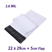 50Pcs White Poly Mailer Plastic Envelope Mailing Bags 22x29cm Postal Shipping Bag Polybag MailBag(China)