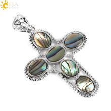 CSJA 2017 Unique Cross Pendant New Zealand Natural Abalone Shell Paua Oval Stone Beads Necklace Statement Women Men Jewelry E457