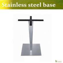 U-BEST Polish stainless steel square base/wire drawing square table base  with Stainless Steel Column