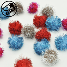 20 Piece/lot Tinsel Sprayed Pompoms Balls Assorted Color Sparkle Balls My Cat's All Time Favorite Toy(China)