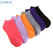 1 Pair of Women's Socks Girl Female Lady Short Cotton Socks Candy Color Ankle Sox Low Cut Boat Art Socks(China)