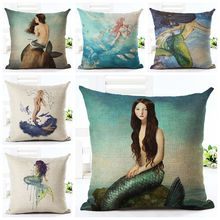 beautiful sea mermaid cushion cover ocean marine decoration cojines nautical almofadas decorativos
