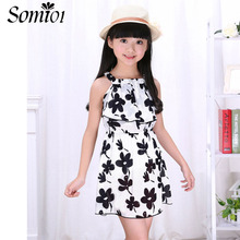 Teen Girl Dresses Summer 2017 New Children Clothing Toddler Kids Girls Flower Floral Black White Dress Chiffon Princess Costume(China)