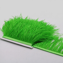 3meter/lot Height 10-15CM/ 4-6 inch green Ostrich Feather Fringe Ostrich Feather Trimming For Dance Dress Making Headdress DIY