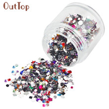 OutTop 1pc New Fashion DIY Nail Art Soft Flowers Fruit Slices Shaped Diamonds Glitter Manicure Decoration Pretty Nail Sticker