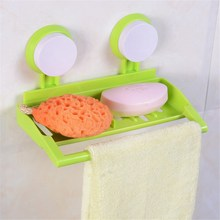 Bathroom Plastic Wall Mounted Suction Cup Storage Rack For Shower Soap Towel Organizer Kitchen Sponge Brush Sink Drain Holder