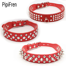 PipiFren Big Dogs Collars Spiked Rhinestone For Cat Collar Pet Puppy Accessories Chihuahua Necklace coleiras para cachorro cani