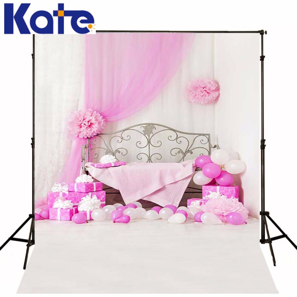 Princess Girl Children Photo Background Bed Of Pink Balloons, Gifts Photography Baby Backdrops Pink Gauze Customize Photo Kate<br>