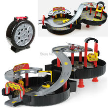 Spiral Roller Rail Alloy Vehicles Kids City Parking Garage Toy City Car Truck Vehicle Auto 2 Storey Play Set Tire Carrying Case(China)