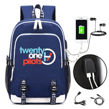 Twenty One Pilots Backpack with USB Charging Port and Lock &Headphone interface for College Student Work Men & Women(China)