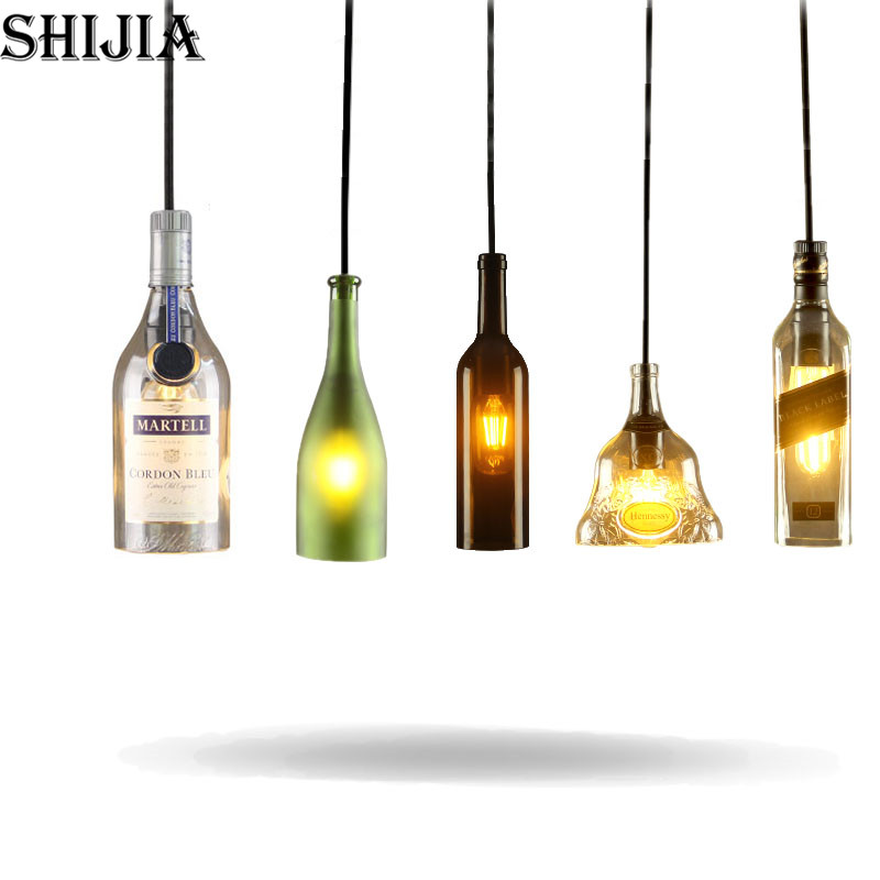 Mediterranean Sea LED Wine Bottle Glass Pendant Light for Dining Room Restaurant Bar Cafe Garment Shop Hanging Pendant Lamp <br>