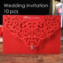 10pcs Red Laser Cut Wedding Invitation Card Greeting Card Postcard Customize Print With Crystal Wedding Event Party Supplies L35