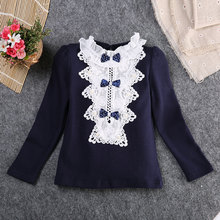Lovely Autumn Spring Long Sleeve Lace Princess Blouse For Baby Girl Blouses Children Girl Blouse Shirt Shrug Shoulders(China)