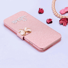 Case For Samsung Galaxy S2 i9100 SII Luxury silk Flip Magnetic PU Leather Wallet Stand Phone Case Cover with diamond buckle(China)