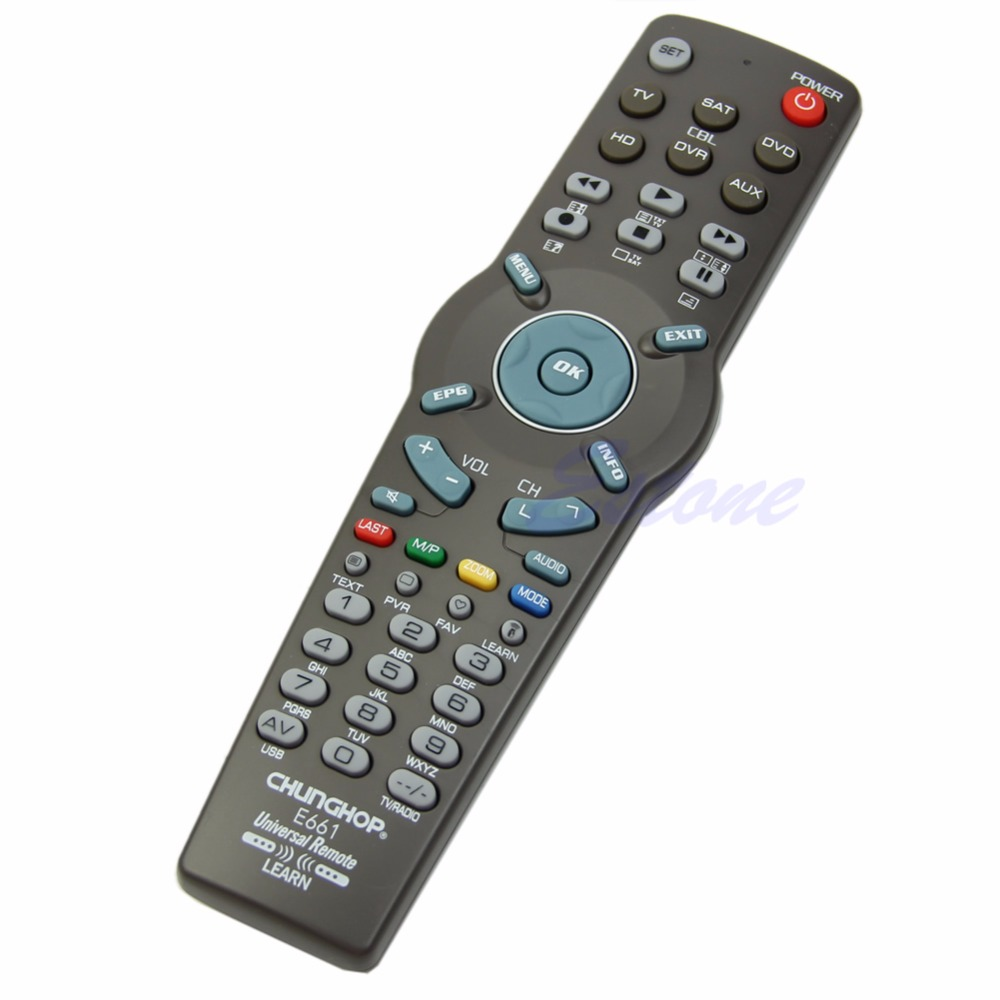 1Pc 6in1 Universal Learning Remote Control Controller TV CBL DVD AUX SAT AUD