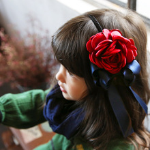 Korea Spring Flowers Hand Made Ribbon flowers Retro Hair Accessories Hair Bows Flower Crown Hairpin Headbands For girls(China)