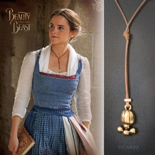 2017 Belle's Lariat Necklace Beauty and the Beast Belle Cosplay Movie Jewelry with Leather Rope Handmade Necklace Accessory