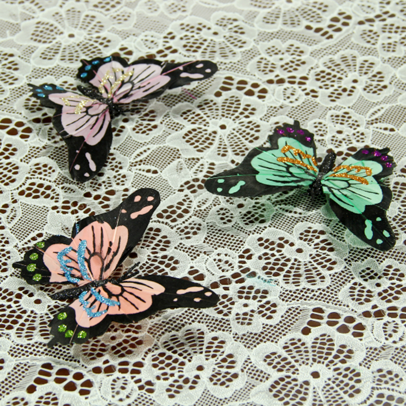 10pcs/lot 11.5*8.3cm Colorful Feather Butterfly Clip Home Decor Decoration Simulation Wedding Christmas Party Supplies A076(China (Mainland))