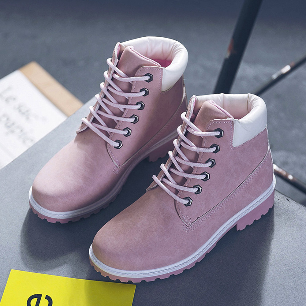 Szyadeou Women Ladies Round Toe Lace-up Faux Boots Ankle Casual Martin Shoes botas mujer invierno kozaki damskie schoenen 30 24