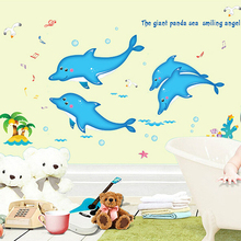 120x170cm PVC Dolphin cartoon children's room wall stickers baby room nursery bedroom bathroom swimming pool decorative stickers(China)