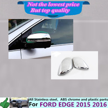 Car body ABS chrome back rear view Rearview Side Mirror Strip Cover stick trim panel lamp hoods 2pcs For Ford EDGE 2015 2016