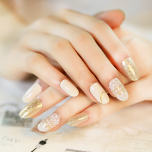 Brand New 24pcs Nude Transparent Glitter Fake Nails Normal Length Round Head Full Soft Pre Designed Nail Tips
