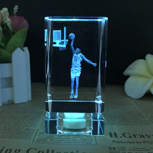 NBA basketball star Kevin Durant model K9 Crystal ornaments fans gift 3D Laser Engraved Crafts LED Small Night Light Colorful