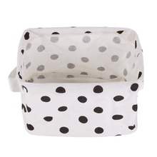 Best White&Black Linen Desk Storage Basket Holder Jewelry Stationery Office Case Organizer For Cosmetics (Dots model)