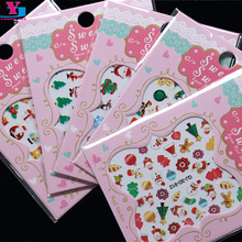 New Arrivial 5pcs Mix Design Christmas Nail Art Stickers Beauty 3D Polish DIY Decal Xmas Nail Decoration Sock Style Accessoires