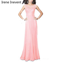 Irene Inevent Long Inside Top Quality Women Elegant Lace Dress Long Maxi Dresses Chiffon sleeveless Evening Wedding Party Dress