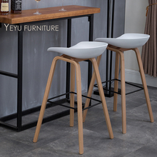 Modern Design solid wood pp plastic counter stool northern wind fashion creative bar chair bar stool Popular Furniture stool 2PC