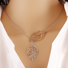 Hot Fashion Gold/Silver Plated Chain Two Double Leaf Leaves Long Strip Statement Pendant Necklace Jewelry for Women(China)