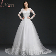 Buy Romantic V-Neck Long Sleeves Ball Gown Wedding Dresses 2017 Sexy Backless Bridal Gowns Lace Appliques Vestido De Noiva for $120.96 in AliExpress store