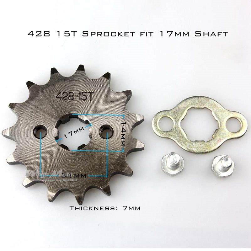 Front Sprocket 428-15T 17mm 428 Size 15 Teeth Sprocket for Motorcycle ATV Dirtbike(China (Mainland))