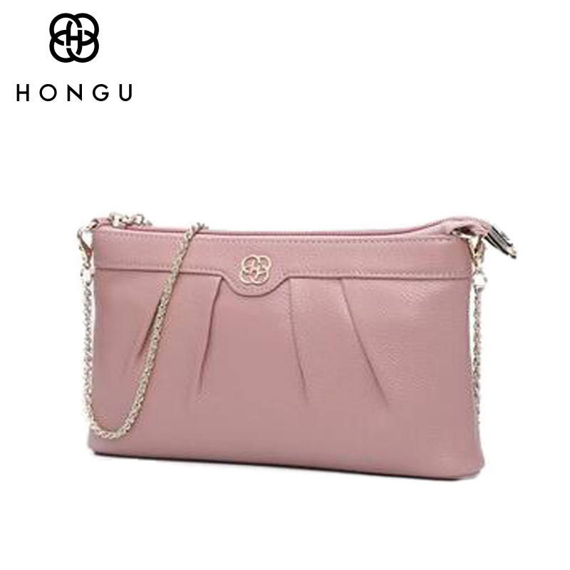 HONGU Famous Brands design Cowhide Genuine Leather Messenger Bag For Women Handbags Shoulder Bag Multicolour Chain Crossbody Bag<br>
