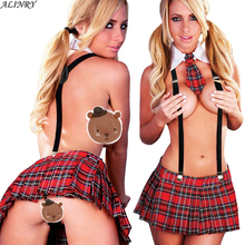 2017 ALINRY Sexy lingerie hot women tie+England plaid skirt cosplay sexy student uniform Erotic underwear lenceriasexy costumes