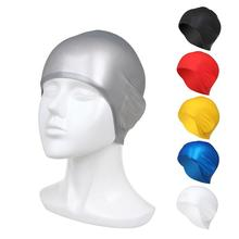 Adults Silicone 3D Men Women Plain Waterproof Swimming Cap Rubber Pool Hat(China)