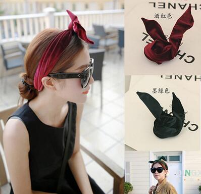 Women Girls Leather Metallic Look Punk ROCK bunny ear wire Party Hair head band