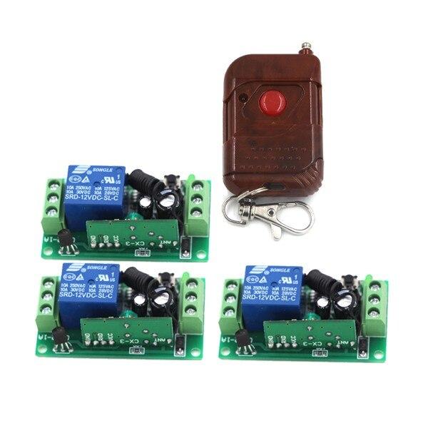 DC 12V 1CH Wireless Remote Control Switch Remote Switch RF Switch Transmitter &amp; 3 Receivers SKU: 5195<br><br>Aliexpress