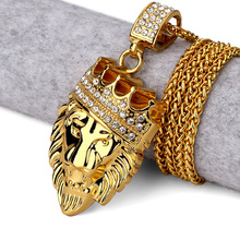 Golden Lion Head Crown King pendants necklaces Men Women Hip Hop Charm Franco Chain Iced Out bling rock Jewelry Gift(China)
