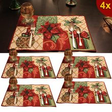 4 Pcs Christmas Placemats Cotton Insulation Tableware Tapestry Festive Holiday Xmas Placemat Tool TB Sale