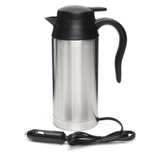 750ml 12V Car Based Heating Stainless Steel Cup Kettle Travel Thermoses Coffee Tea Heated Mug Motor Hot Water For Car Truck Use