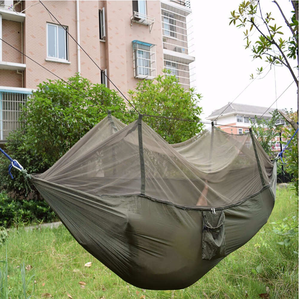 Portable Parachute Fabric Hammock Hanging Bed With Mosquio Net For Camping<br><br>Aliexpress