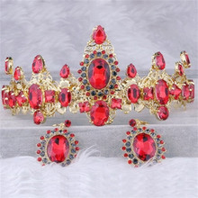 New 2016Wedding Bridal Crystal Golden Crown Baroque Stely jewelry Queen Prom Hair Ornaments Earings Photography Accessories