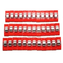 Durable 36Pcs Plastic Red Wonder Holding DIY Quilting Clips Craft Fabric Clamps Sewing Crochet Cloth Binding Pegs Support(China)