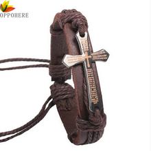 OPPOHERE New Fashion Men Jewelry Vintage Leather Bracelets & Bangles Metal Cross Jesus Bracelet Adjustable Wax Cord Brown Black(China)