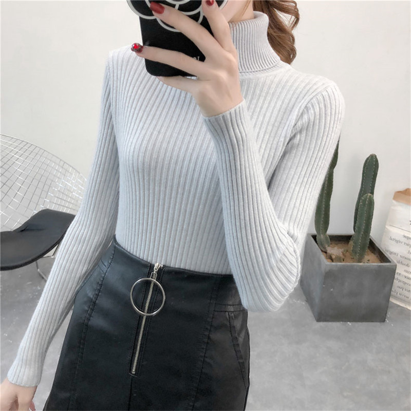 19 Women Sweater casual solid turtleneck female pullover full sleeve warm soft spring autumn winter knitted cotton 8