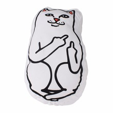 46cm*26cm Middle Finger Cat Funny Pillow White Cushion for Sofa Bed Home Decoration Creative Gift Smile Cat Pillow(China)
